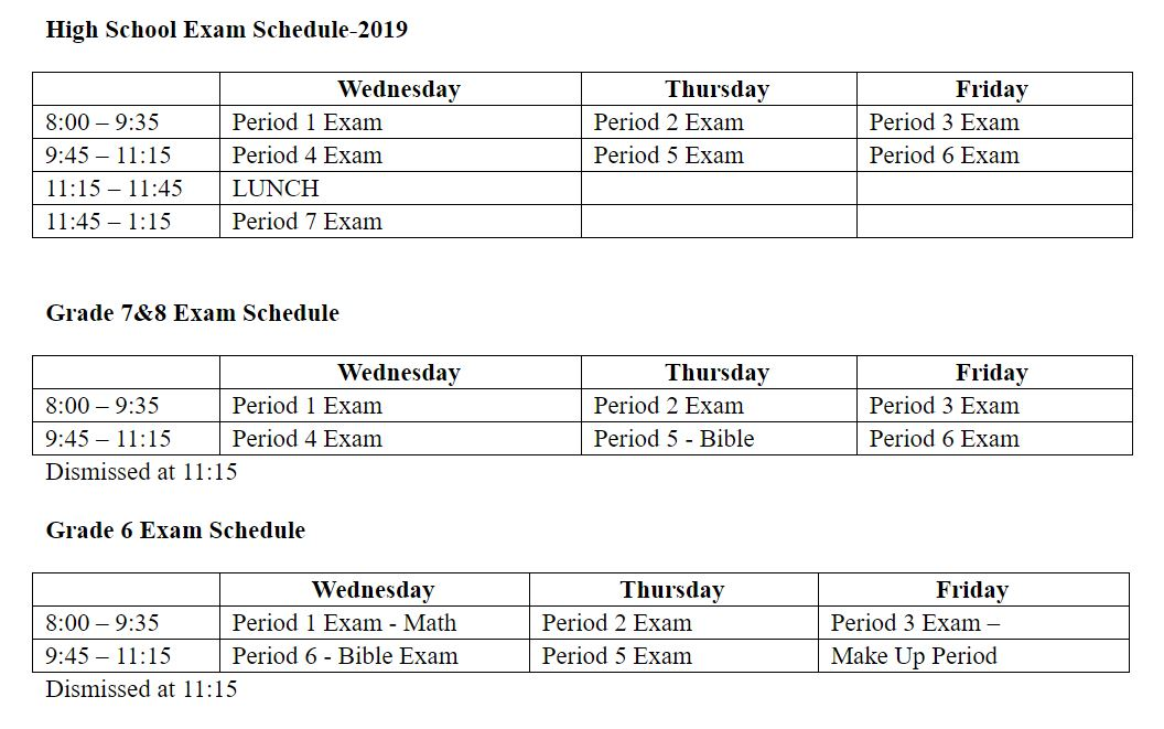 Finals Schedule - except seniors